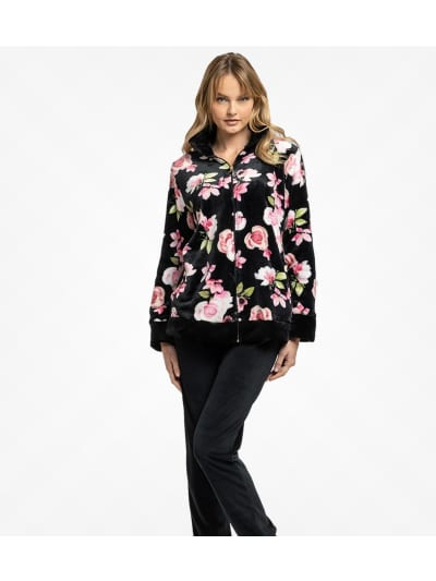 Jeannette Πυτζάμα Γυναικεία Χειμερινή  (6713) Fleece Φερμουαρ Roses